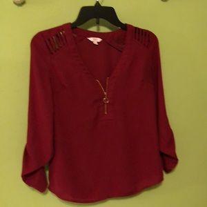 Candie's Cranberry Blouse- XS